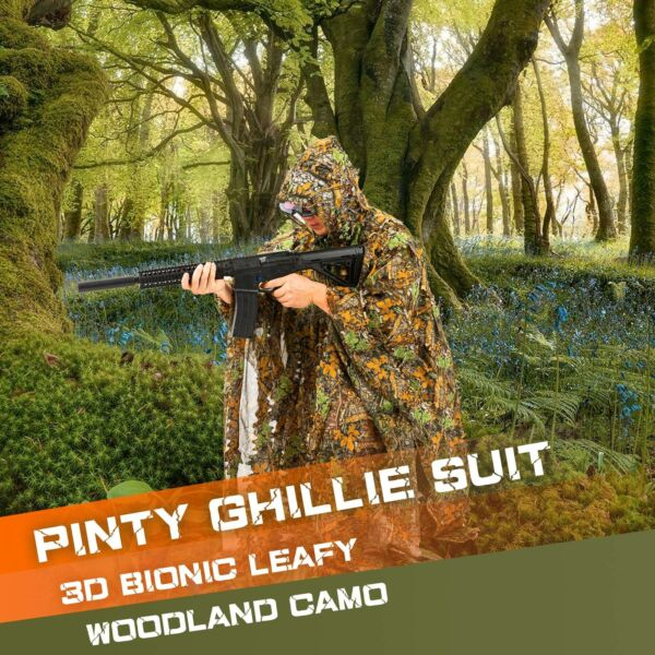 Longleaf Ghillie Suit Leafy Camouflage Poncho for Men Women Tactical Gear Snaps