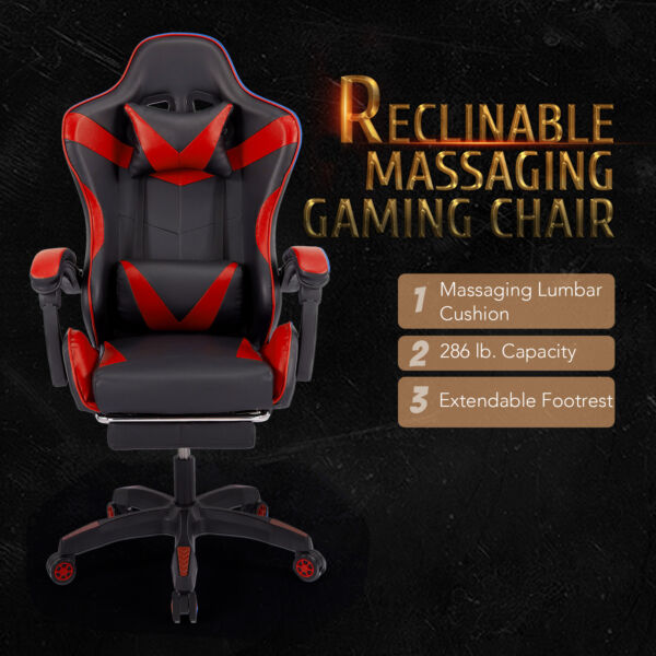 Leather Gaming Chair for Adults with Wheels Lumbar Support Massage Footrest Red