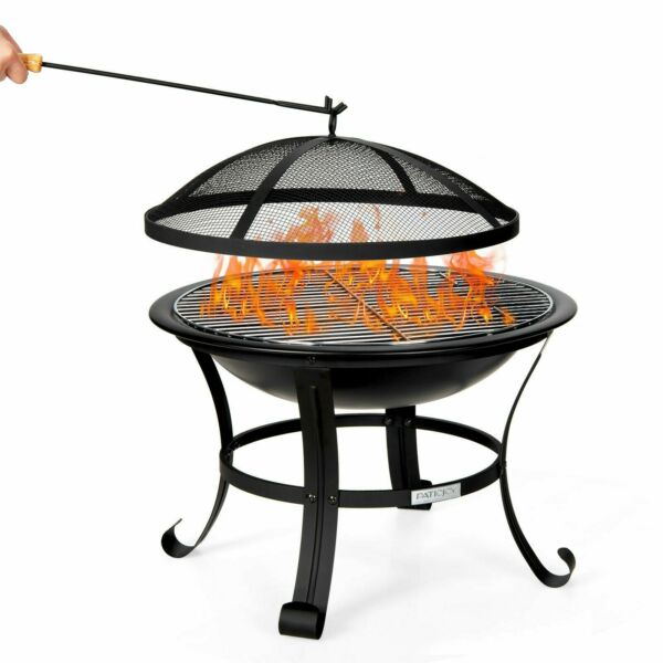 New 22quot; Steel Fire Pit Bowl BBQ Grill Wood Grate Outdoor Portable Black Gift