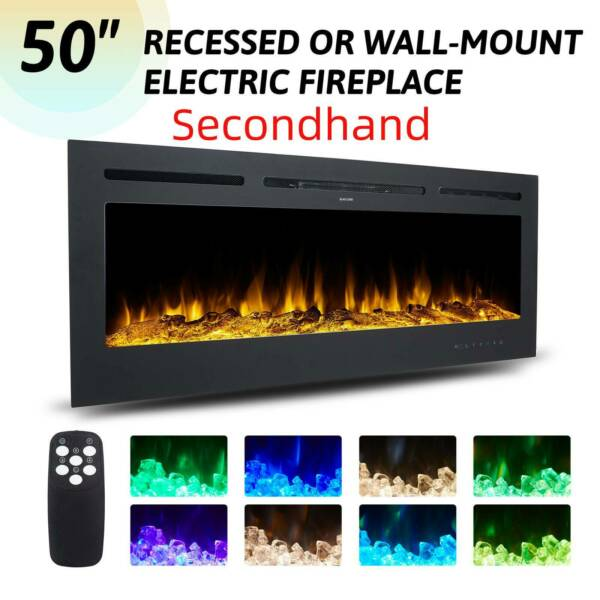 Secondhand 50quot; Electric Fireplace Wall Mounted 750W 1500W Embedded Space Heater