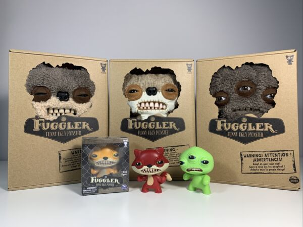 LOT Fuggler Teddy Bear Nightmare Burlap amp; Brown Fur Annoyed Alien amp; Vinyls NEW
