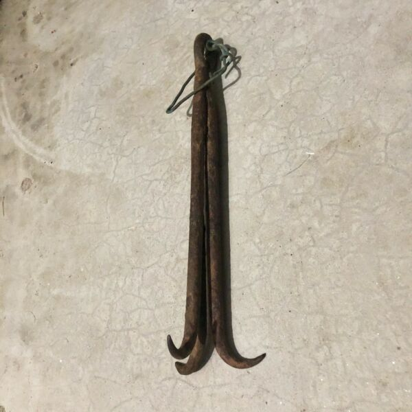 Antique Wrought Iron Poultry Hook Game Meat Kitchen Tri Triple Rusted 14quot;