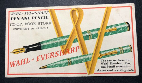 Wahl Eversharp Fountain Pen Art Deco Ink Blotter Mini Sign University Arizona