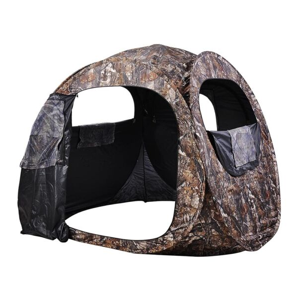 US *Hunting Blind Pop Up Ground Portable Camouflage Enclosure 2 Person Tent Camo