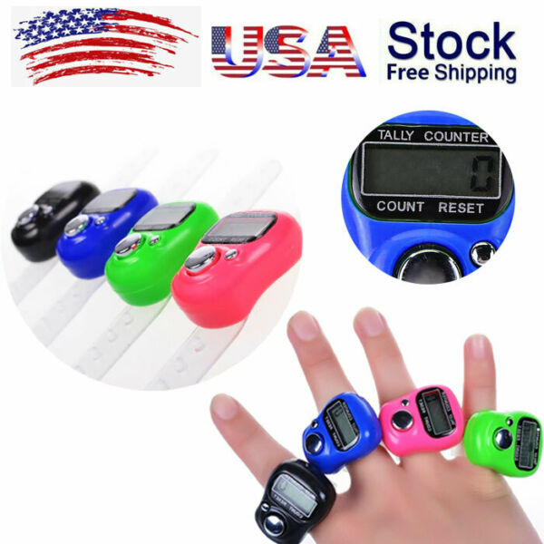 8PCS LED Digital Finger Ring Tally Counter Hand Held Knitting Row Counter Timer