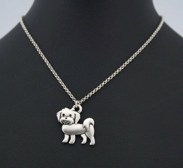 Puppy Dog Silver Maltese Dog Charm Necklace Pendant Pewter Box Pet Lover Women $15.99
