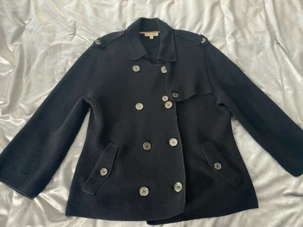 BURBERRY Women#x27;s Double Breasted Sweater Jacket Black Large $200.00
