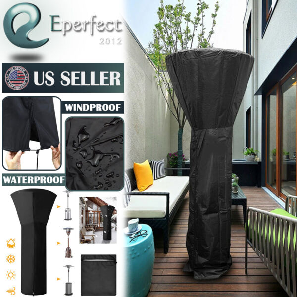 Gas Patio Heater Cover Waterproof w Zipper Heavy Duty Outdoor Heater Protector