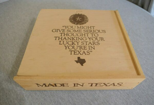 Thanking your Lucky Stars You#x27;re In Texas Sliding Lid Wood Crate Storage Box