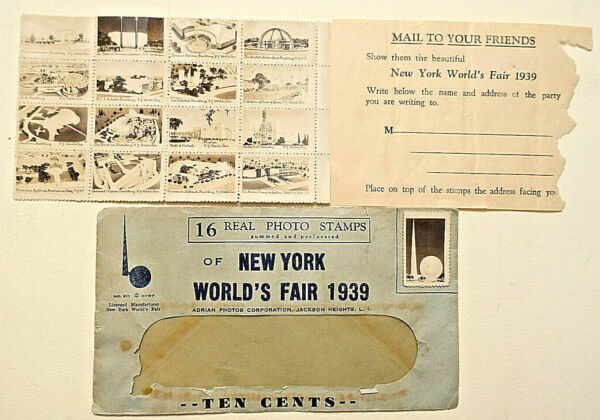 1939 New York World#x27;s Fair 16 UNUSED REAL PHOTO STAMPS w ENVELOPE amp; ORDER FORM