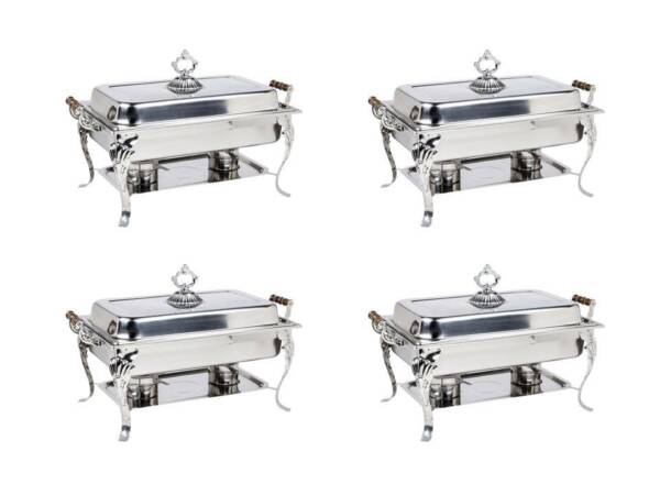 4 Pack 8 Qt. Full Size Stainless Steel Buffet Catering Chafers Chafing Dishes