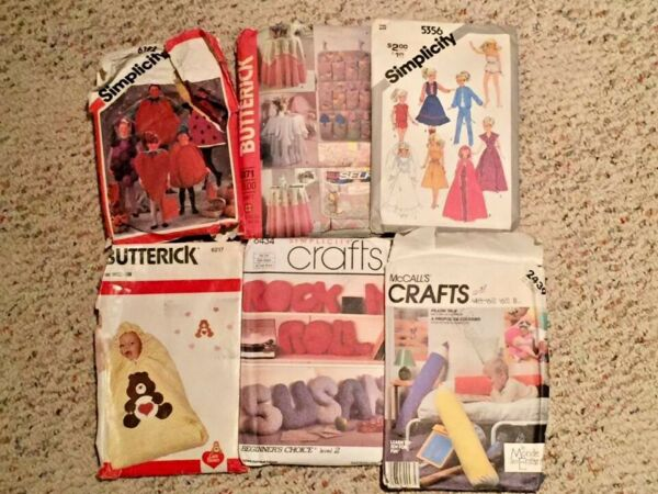 6 VINTAGE SEWING PATTERNS Barbie PILLOWS Baby BUNTING Halloween GRAPES COSTUME