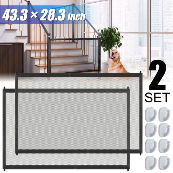 2X Portable Indoor Baby Pets Dog Safety Gate Mesh Net Fence Barrier Stairs Doors $19.99