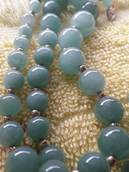 14k Green Jade Graduated Beaded Necklace 14K Gold Clasp amp; Spacer Beads quot;18quot;