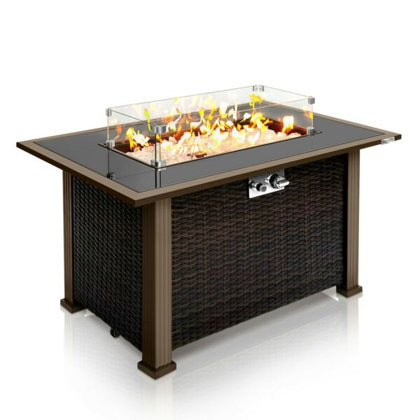 SereneLife Outdoor Propane Gas Fire Pit Table 50000 BTU Auto Ignition Gas Fire