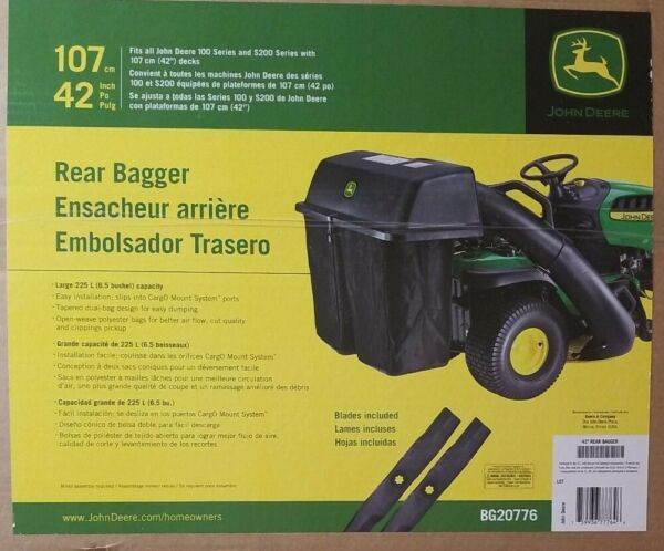 John Deere 42 in. Twin Bagger for 100 amp; S200 Tractors Lawn Mowers BG20776