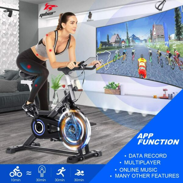ANCHEER Stationary Exercise Bike Indoor Cycling Bike Belt Drive w APP Connection $259.99