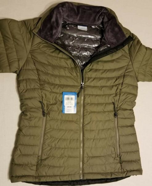New Columbia Women#x27;s White Out ll Omni Heat Puffer Jacket Green XK0677 365