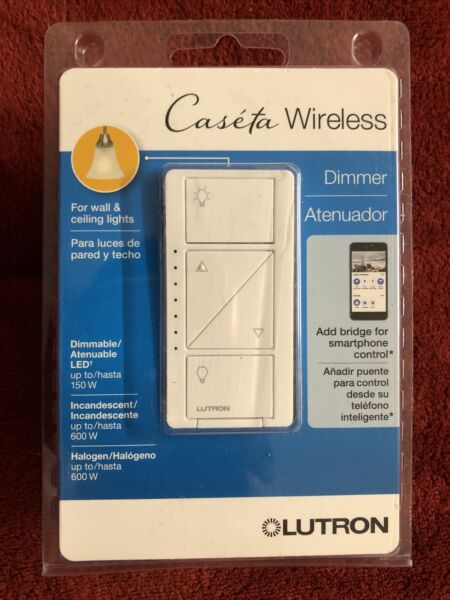Lutron Caseta Wireless LED CFL 600 150Watt Single Pole In wall Dimmer PD 6WCL WH
