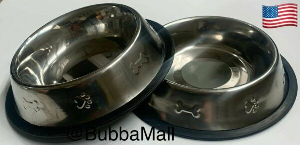 2 X Pet Food Water Cat Dog LARGE Anti Skid Rubber Stainless Steel Bowls Stamped $14.75