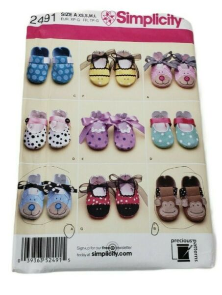 Simplicity 2491 Baby Shoes Booties Monkey Bear Dog Pattern all sizes UNCUT FF $5.99