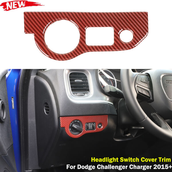 Red Carbon Inner Headlight Switch Cover Trim For Dodge Challenger Charger 2015 $19.84