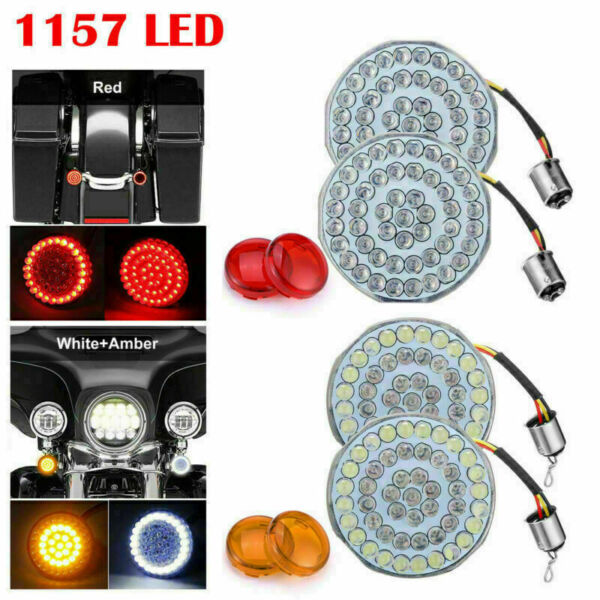 4PC 1157 LED Turn Signal Light Inserts Flat Style Fit for Harley Dyna Road Glide