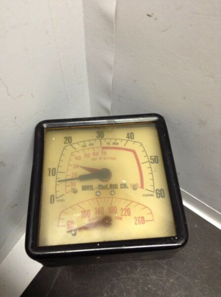 """Vintage 1950#x27;s Weil McLain Boiler Gauge with 1 2"""" Brass Threads SHIPS FREE $49.99"""