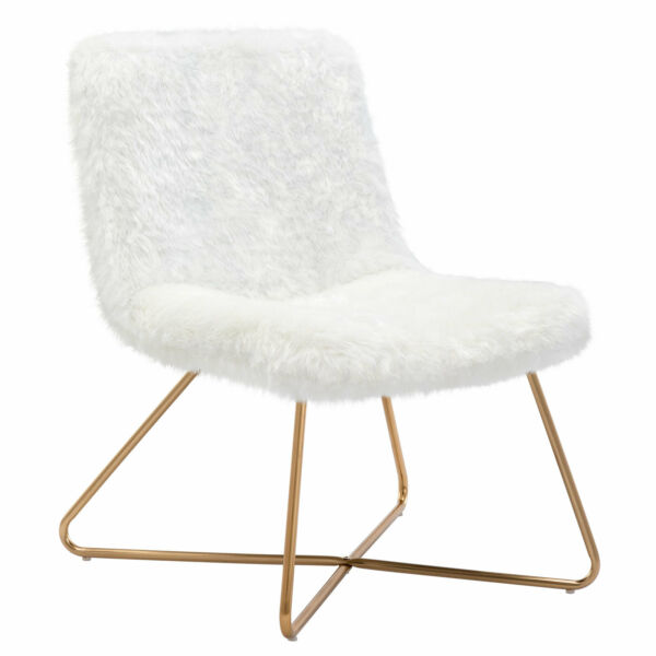 Dohome Faux Fur Upholstered Accent Chair for Living Room Bedroom White 1 pcs