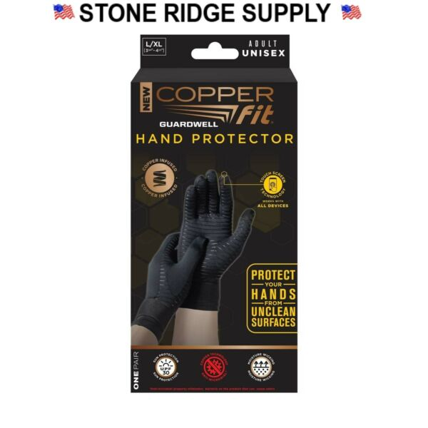 NEW COPPER FIT GUARDWELL GLOVES L XL FULL FINGER HAND PROTECTION ANTI MICROBAL