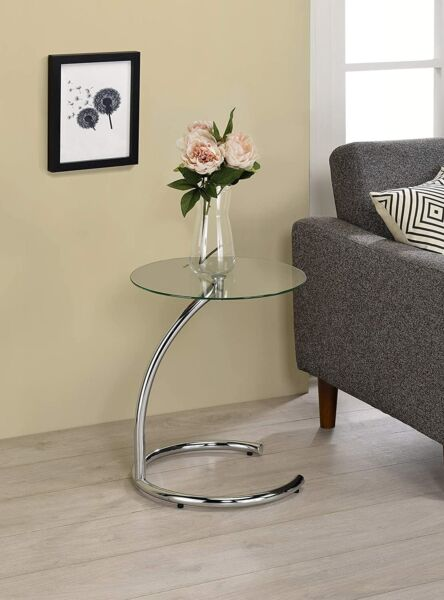 Glass Accent Side End Table Patio Furniture Chrome Night Stand Deck Living Room