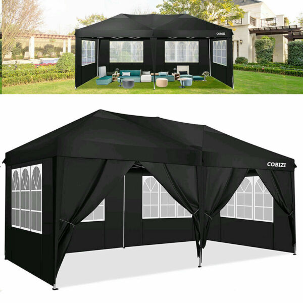 COBIZI 10x20ft Pop Up Canopy Outdoor Gazebo Wedding Party Tent with 6 Sidewalls