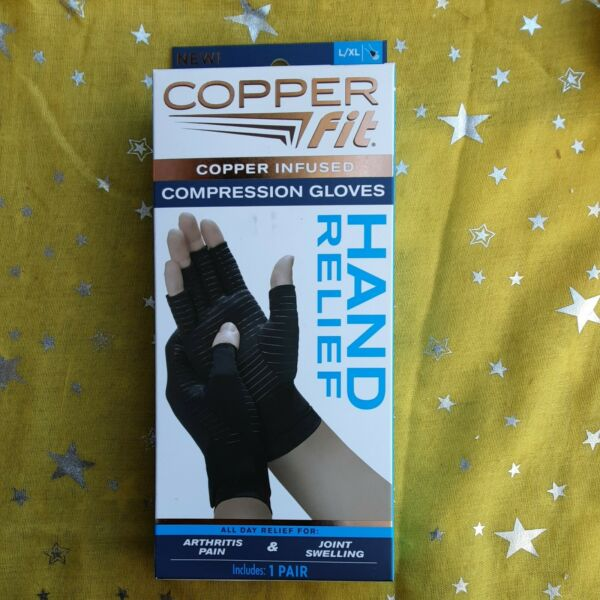 COPPER FIT Compression Gloves COPPER INFUSED Hand Relief 1 Pair S M amp; L XL