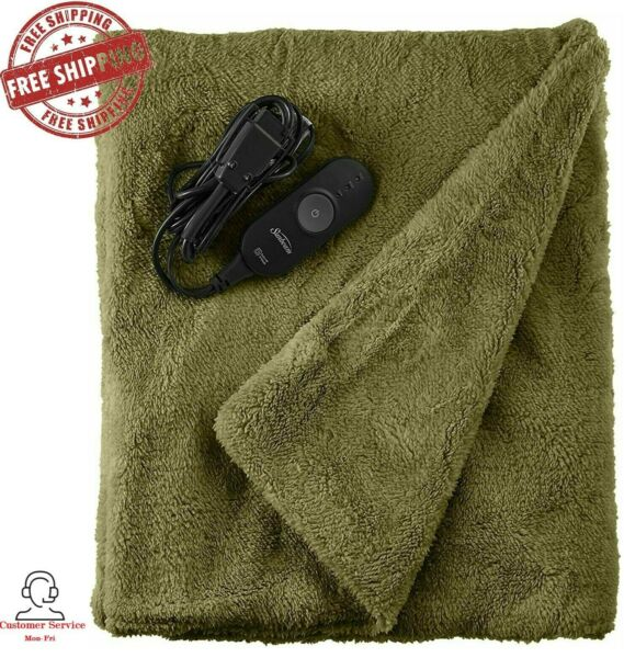 Sunbeam Heated Throw Blanket LoftTec 3 Heat Settings in Sage 2093627 $34.95