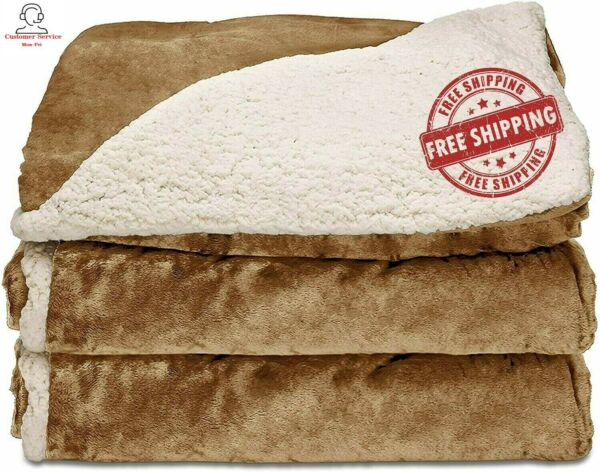 Sunbeam Heated Blanket Reversible Sherpa Royal Mink 3 Heat Settings in Honey $34.95