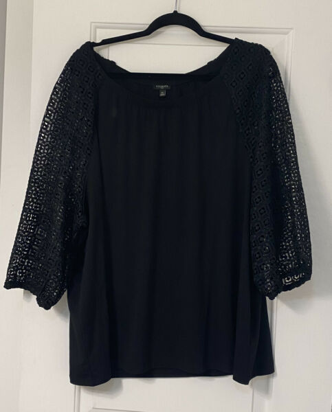 Nwt Talbots 3X Black Lace And Ponte Knit 3 4 Sleeve Top