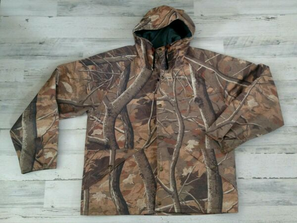 Cabelas Mens Real Tree Camo Outdoor Lined Hunting Jacket With Hood Size Large?