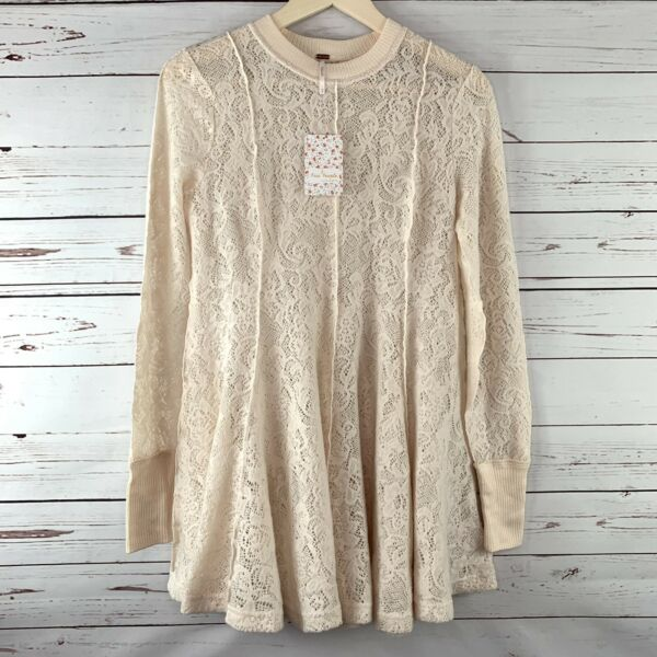 NWT Free People XS Boho Tunic Coffee In The Morning Sheer Brushed Knit Lace $128