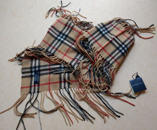 """Authentic Burberry Scarf 100% Cashmere Double Fringe Classic Check 56"""" x 6.5"""" $73.99"""
