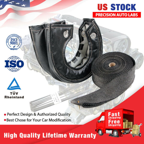 T3 Black Carbon Turbo Heat Shield Blanket Cover 2#x27;#x27;*50FT Exhaust Header Wrap Tap $35.99