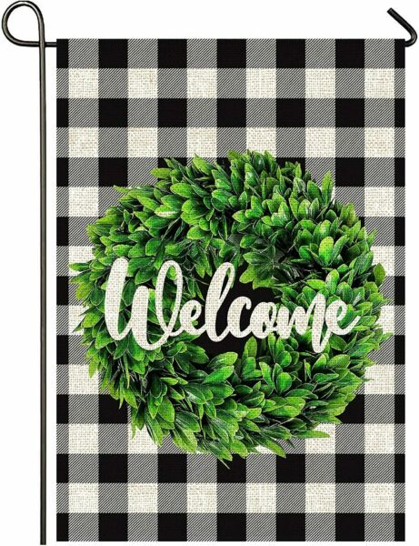 Mogarden Welcome Garden Flag 12.5 x 18 Inch Premium Burlap Small Yard Flag