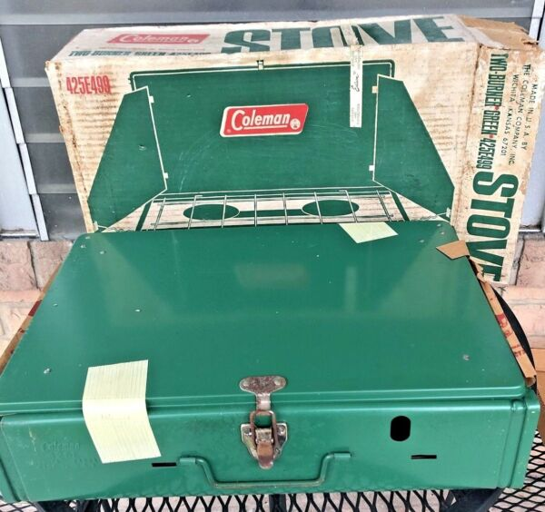 Vintage Coleman Stove 425E499 Two Burner Green w Original Box. Factory sealed.