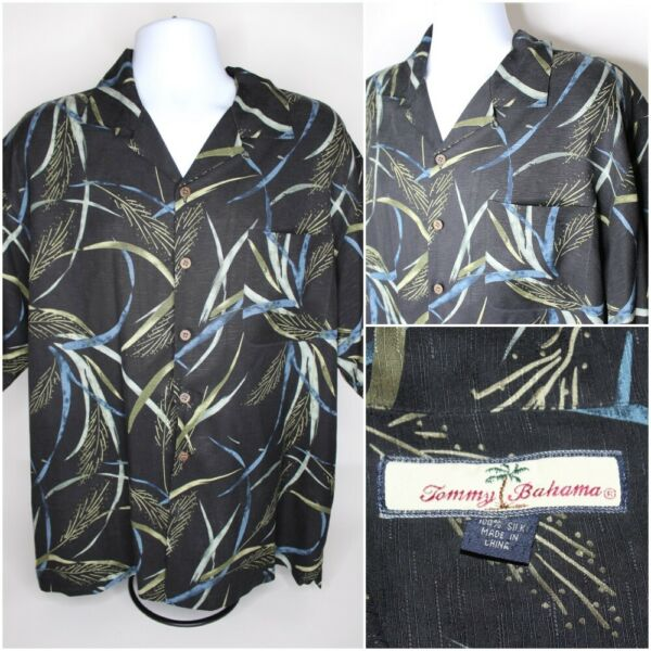 Mens TOMMY BAHAMA 100% Silk Short Sleeve Hawaiian Camp Button Shirt : Size L $27.95