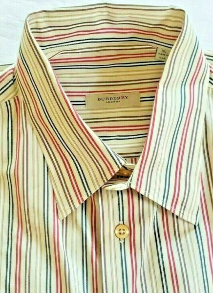 Burberry London Mens Striped Long Sleeve Button Down Shirt Brown amp; Red Size XL $49.00