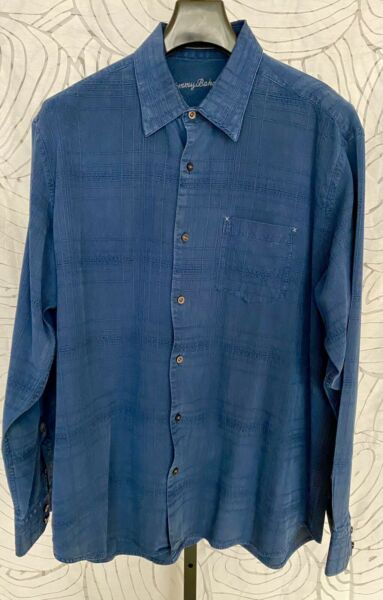 Tommy Bahama Long Sleeve Dark Blue Silk Mens Shirt Size XL $29.99