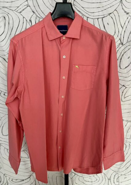 Tommy Bahama Long Sleeve Cotton Silk Coral Mens Shirt Size L $29.99