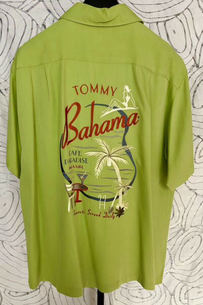 Tommy Bahama Short Sleeve Green Silk Mens Shirt Size XL $29.99