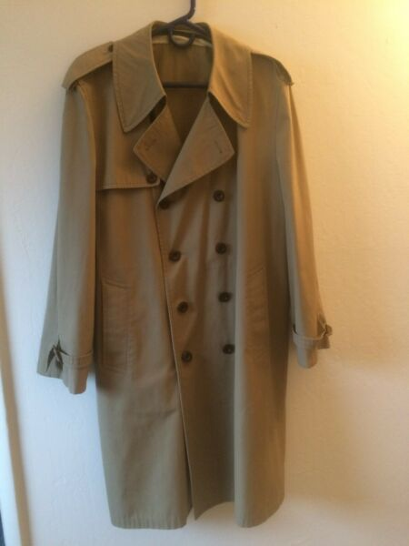 Burberry Double Breasted Trench Coat Mens Size 42 44 No Wool Liner $44.00
