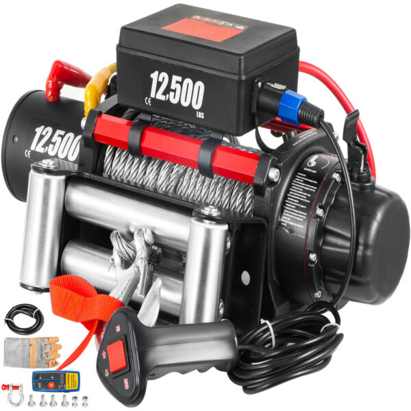 12500LBS 12V Electric Winch Steel Cable 85FT Truck Trailer Towing Off Road ATV $272.98