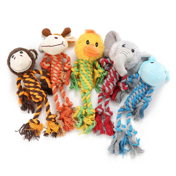 Dog Squeaky Toys No Stuffing Rope Toy Dog Plush Toy For Small Medium Large Dogs $8.95